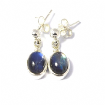 Small Ovals Rainbow Moonstone Earrings Silver